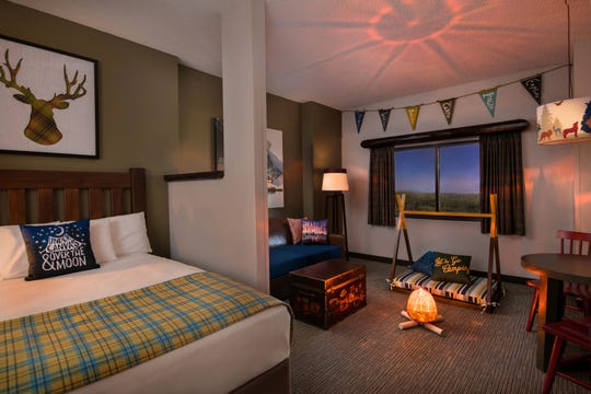 "The summer camp suites at Great Wolf Lodge include ""campfires."""