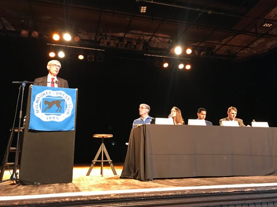 Gov. Tony Evers speaks at a Milwaukee Press Club event Tuesday.
