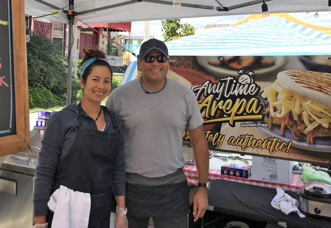 Leo Farfan and his wife, Maria, run Anytime Arepa, which will be at farmers markets and other events this season.