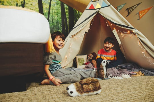 Part of the summer camp theming at Great Wolf Lodge this summer will be in-room tents in some of the hotel rooms.