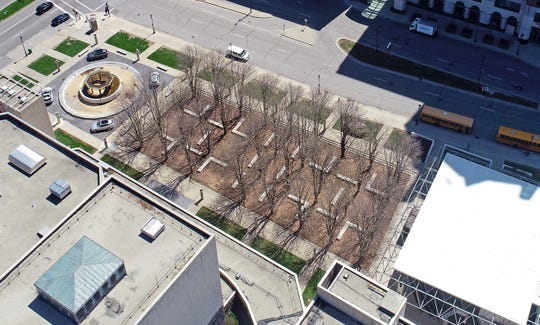 The Chestnut grove of trees outside the Marcus Center for the Performing Art in 2019. Aerial journalism.