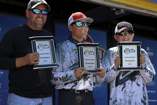 Salem's Keaton Bassham and Huntlee York won the Bassmaster Junior Central Open held Sunday on Norfork Lake, featuring anglers in second through eighth grades. Bassham and York caught the only limit, which weighed 10 pounds, 5 ounces. The duo is pictured with boat captain Michael Bassham and will advance to the national tournament in Tennessee.