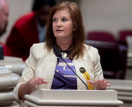 Rep. Terri Collins speaks during debate on the abortion ban bill at the Alabama Statehouse in Montgomery, Ala., on Tuesday April 30, 2019.