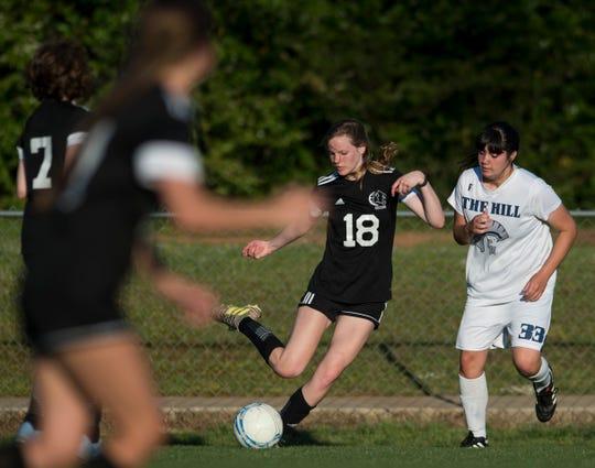 Prattville Christian's Jenna Warlick (18) passes the ball at Prattville Christian Academy in Prattville, Ala., on Monday, April 29, 2019. Cottage Hill defeated Prattville Christian 1-0.
