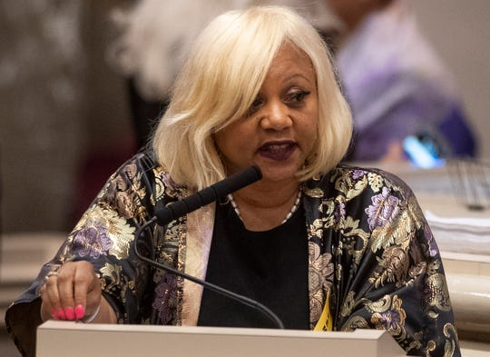 Rep. Rolanda Hollis speaks during debate on the abortion ban bill at the Alabama Statehouse in Montgomery, Ala., on Tuesday April 30, 2019.