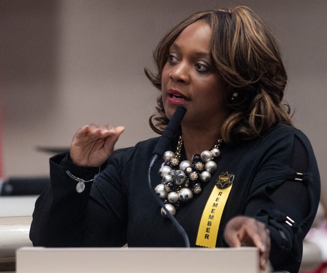 Rep. Merika Coleman during debate on the abortion ban bill at the Alabama Statehouse in Montgomery, Ala., on Tuesday April 30, 2019.
