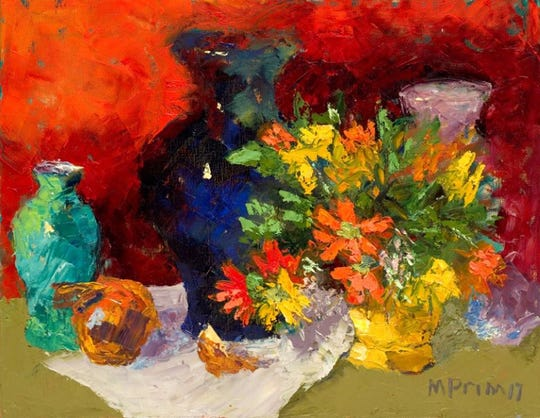 """The work of Margie Prim, such as this piece """"Onions and Daisies,"""" will be featured at Gordy Fine Art and Framing Company."""