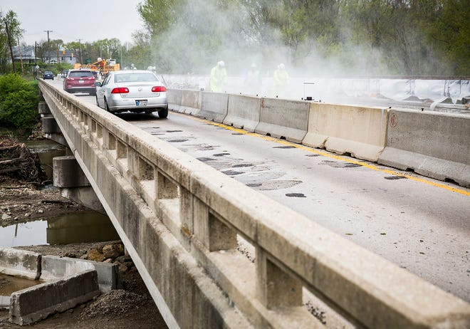 Construction work was ongoing along Tiger Driver bridge in Yorktown in April, 2019. The bridge was reopened in the fall after nearly two years of work.