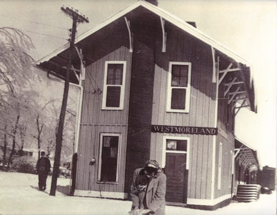 Wesmoreland Railroad Station is photographed in 1886, decades before the town was officially incorporated.