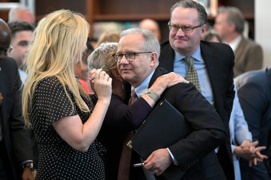 Mayor Briley hugs his mother, Jeannine Briley, after he delivers the 56th Annual State of Metro Address at the Nashville Public Library's Grand Reading Room on Tuesday, April 30, 2019.