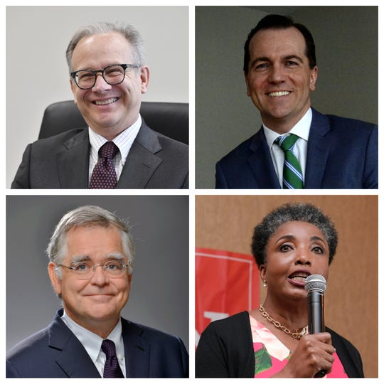 The major candidates for Nashville mayor, clockwise from top left: Mayor David Briley; Rep. John Ray Clemmons, D-Nashville; Carol Swain, a retired Vanderbilt professor; At-large Council member John Cooper.