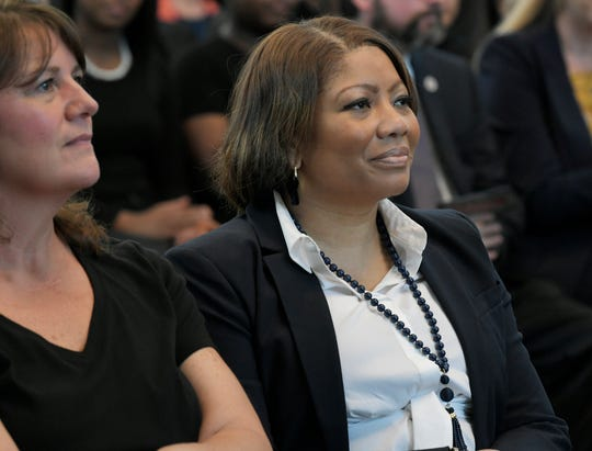 Metro Nashville Public Schools interim director Adrienne Battle listens as Mayor David Briley delivers the 56th Annual State of Metro Address at the Nashville Public Library's Grand Reading Room on Tuesday, April 30, 2019.