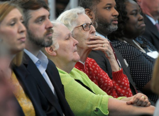 Members of the community listen as Mayor David Briley delivers the 56th Annual State of Metro Address at the Nashville Public Library's Grand Reading Room on Tuesday, April 30, 2019.