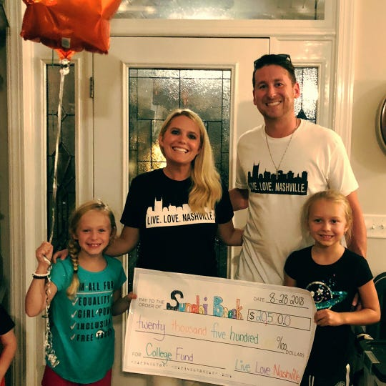 Taylor Rowe of Live Love Nashville donated $20,500 to 7-year-old Sundai Brock's college fund after her single father died last year. Rowe donated money she received when she was invited to Ellen DeGeneres' 60th birthday show in 2018.