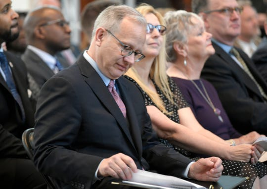 Mayor David Briley reads his notes before delivering the 56th Annual State of Metro Address at the Nashville Public Library's Grand Reading Room on Tuesday, April 30, 2019.