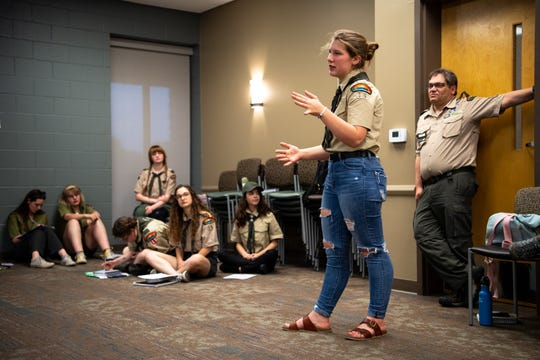 Estella Pennell, 17,  speaks to fellow Scouts during a Scouts BSA meeting at Christ Community Church in Franklin on Monday, April 29, 2019.