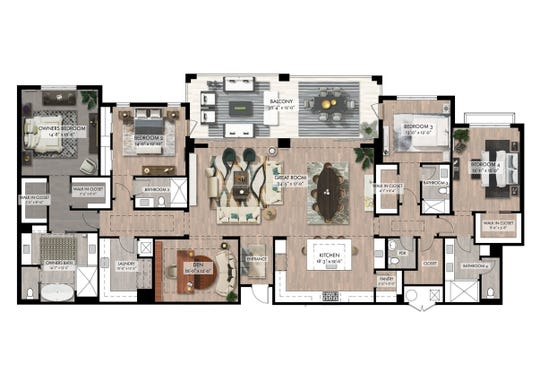 """The Quattro """"B"""" floor plan at Naples Square epitomizes the sense of space and style created for each of the new building's residences."""