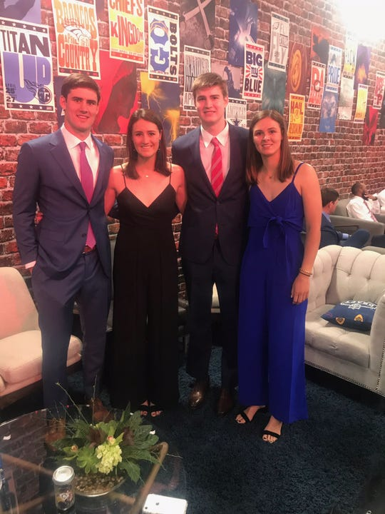 NY Giants draft pick Daniel Jones, left, poses backstage at the NFL Draft last Thursday night with siblings (from l to r) Rebecca, Bates and Ruthie.