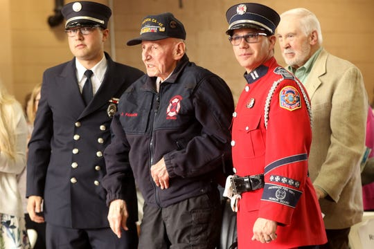 Joseph Parkin Sr. who is a WWII combat veteran from the U.S. Navy and a former member of the Paterson Fire Department, is 95 years-old.  Parkin is believed to be the oldest living member of the fire department and served from 1957-82.  Tuesday, April, 30, 2019