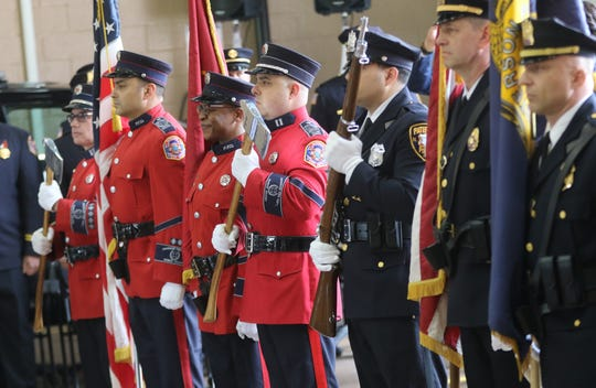 The Paterson & Fire Color Guard are shown during the presentation of colors, Tuesday, April, 30, 2019.