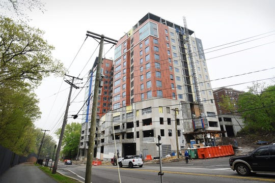Exterior photo of the high-rise building being built at 69 Main Street in Fort Lee.  The development is the subject of a lawsuit involving developer Fred Daibes.