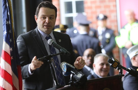 Paterson Mayor, Andre Sayegh, addresses members of the Paterson Police and Fire Departments moments before they were promoted. Tuesday, April, 30, 2019