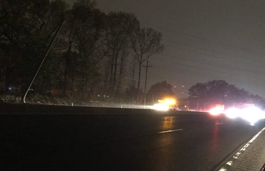 A utility pole on Route 3 east in Clifton was damaged in an accident Monday night. Emergency crews were working overnight.