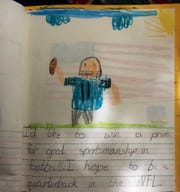 A page from Daniel Jones' third-grade school journal in which he first expressed his desire to play quarterback in the NFL. Jones was drafted No. 6 overall by the NY Giants.
