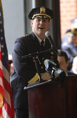 Paterson Police Chief, Troy Oswald, addresses members of the Paterson Police and Fire Departments moments before they were promoted. Tuesday, April, 30, 2019