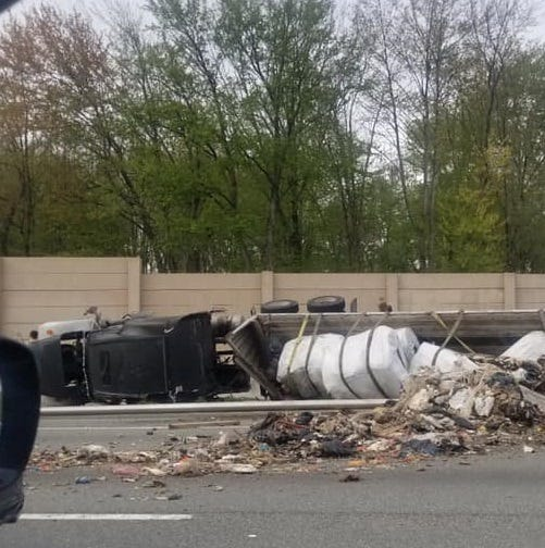Tractor trailer spills garbage on Route 80 entrance ramp, closes two lanes