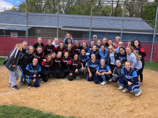 Members of the Waldwick and Northern Highlands softball team pose together after CF charity game.