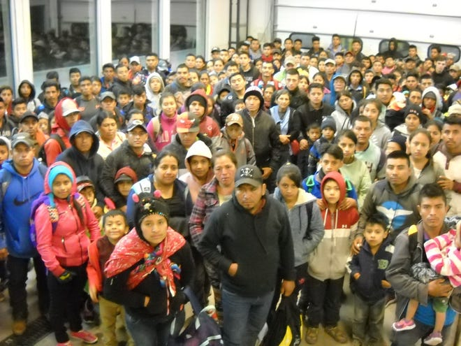 Border Patrol reports a group of 230 people were apprehended at the Camp Bounds Forward Operating Base at the Antelope Wells Port of Entry in the state's Bootheel about 2 a.m. Tuesday, April 30, 2019.