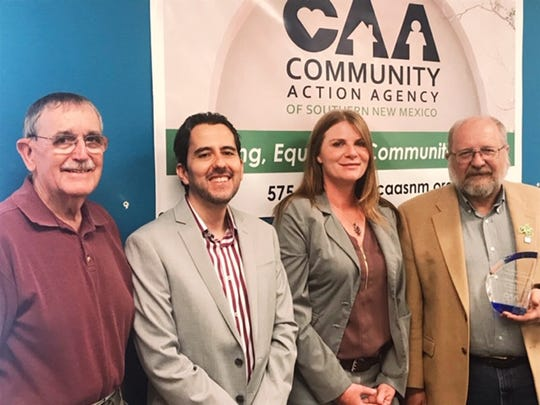 From left to right, Larry Cottingham; Dr. Rodolfo Acosta, CAASNM Family Empowerment Director; Dawn Z. Hommer, CAASNM CEO; and George Pearson, 2019 Larry Cottingham Award recipient.