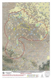A map of a buffer zone off limits to oil and leasing near Chaco Canyon.
