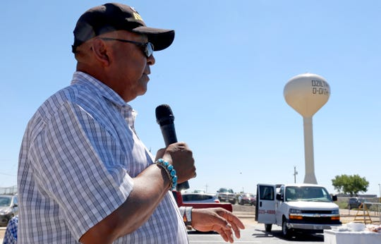 Sam Sage, community service coordinator for Counselor chapter, is a member of the new Chaco Canyon Land Office Working Group. Here he is seen speaking on Aug. 5, 2015, during the grand opening for an administrative service center at the Navajo Nation Police Substation in Dzilth-Na-O-Dith-Hle.