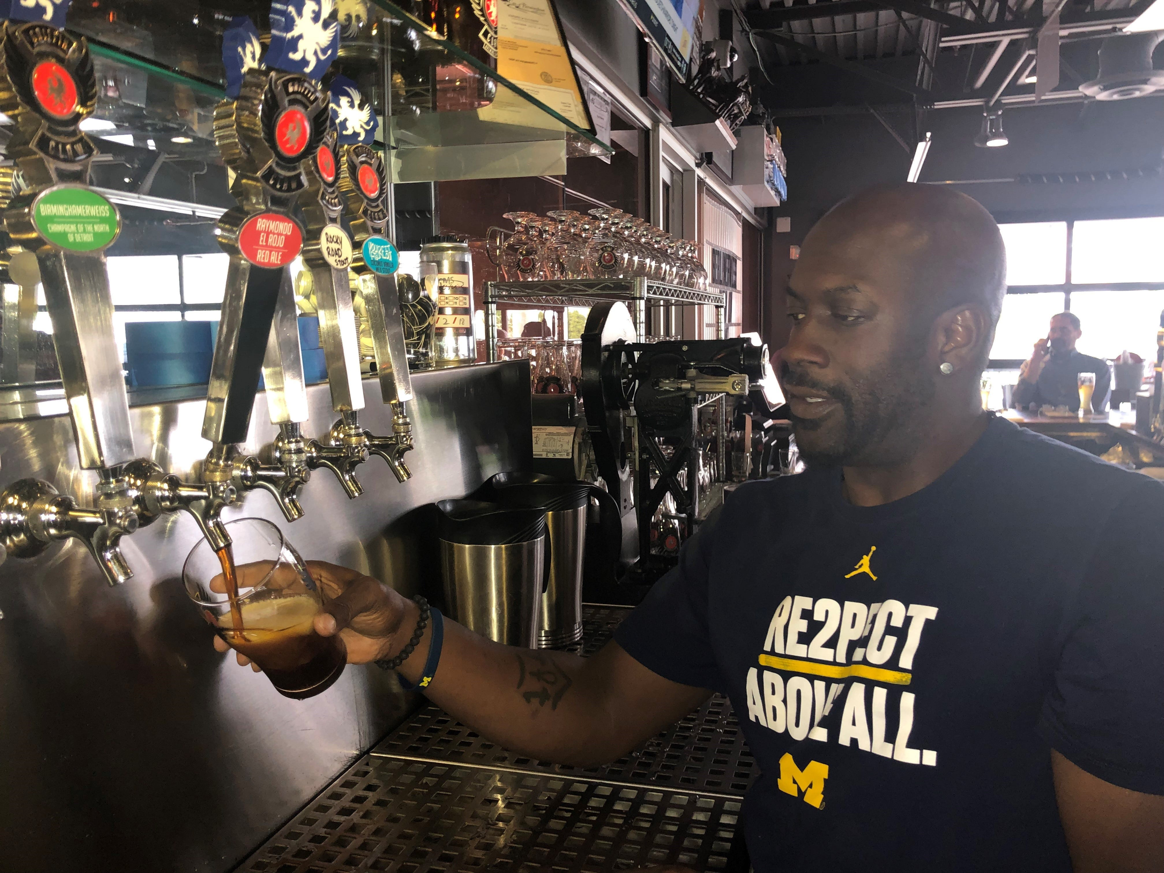 Damon Works, Griffin Claw bartender, pours an El Rojo, a red ale which won a gold medal at the 2019 World Expo of Beer competition.
