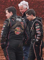 Fred Rahmer is seen with his sons, Brandon, left, and Freddie at Lincoln Speedway in 2018.