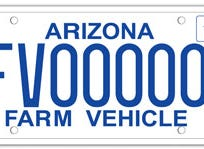 The Arizona farm vehicle license plate is limited to vehicles used in commercial farming or stock raising.
