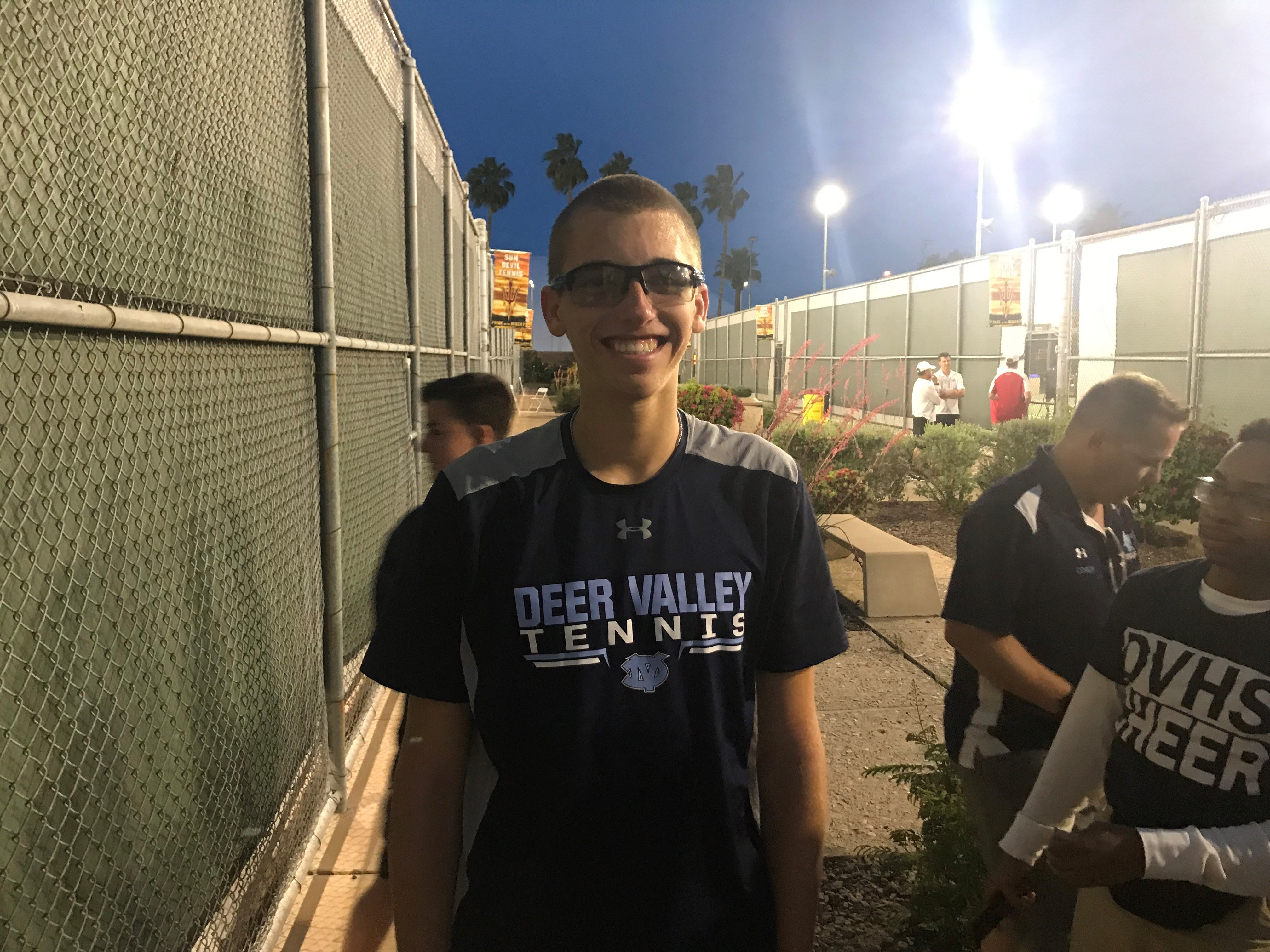 April 29, 2019; Oliver Boleratzky of Deer Valley takes in the moment after winning his second consecutive Division II single title at ASU Whiteman Tennis Center.