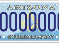 The Arizona Masonic Fraternity specialty license plate supports charities supported by the Arizona Masons.