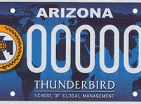 Arizona Thunderbird School of Global Management specialty license plate