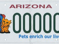 This Arizona specialty license plate supports a fund for the spaying and neutering of animals.