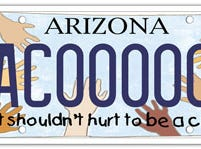 The Arizona child abuse prevention specialty plate fee goes to a fund for child abuse prevention programs.