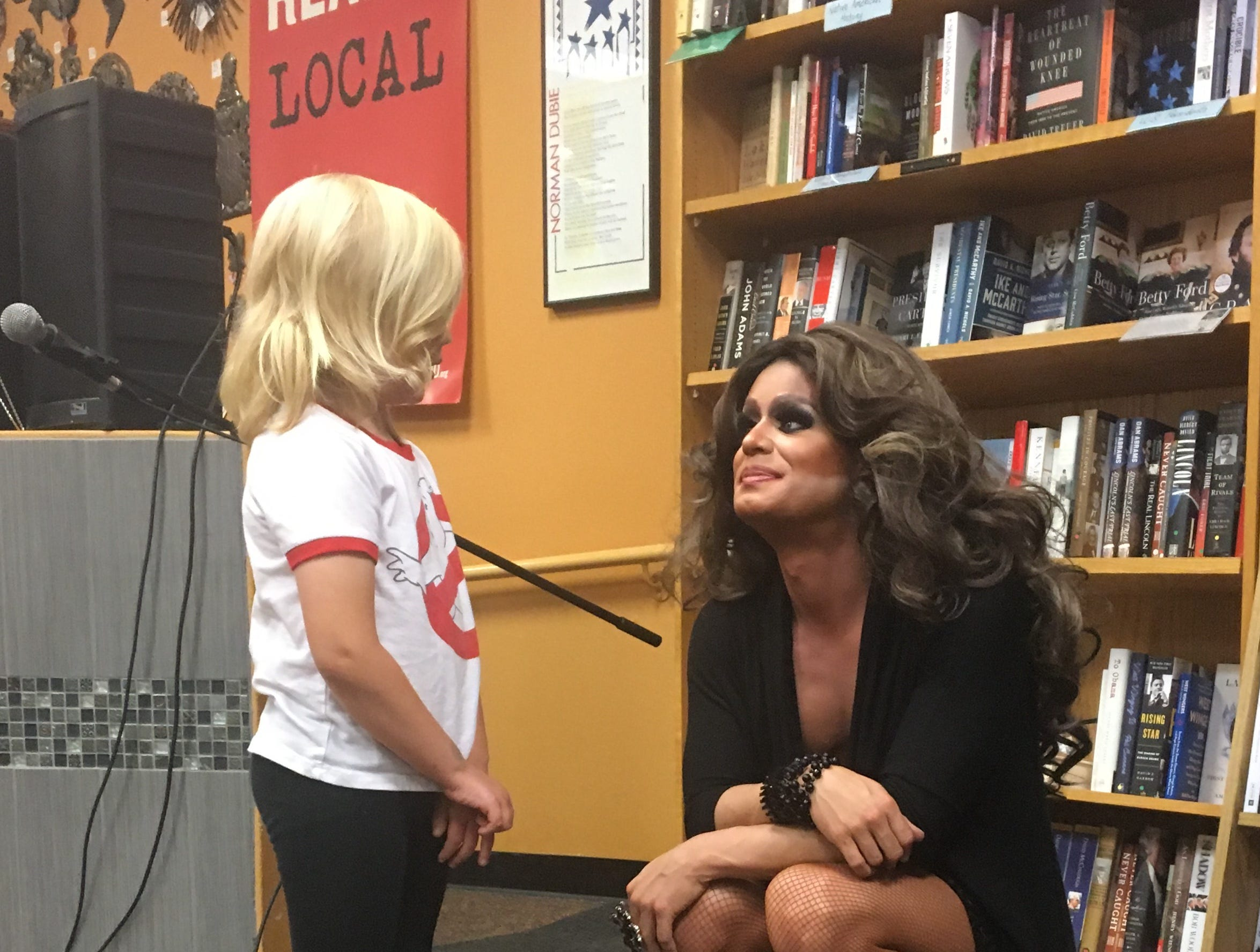 Drag queen Nevaeh McKenzie talks with 5-year-old Sully, whose mom Tricia Miller brought him to Drag Queen Storytime at Changing Hands Bookstore in Tempe. She loved the stories they read about acceptance and how our differences should be embraced.