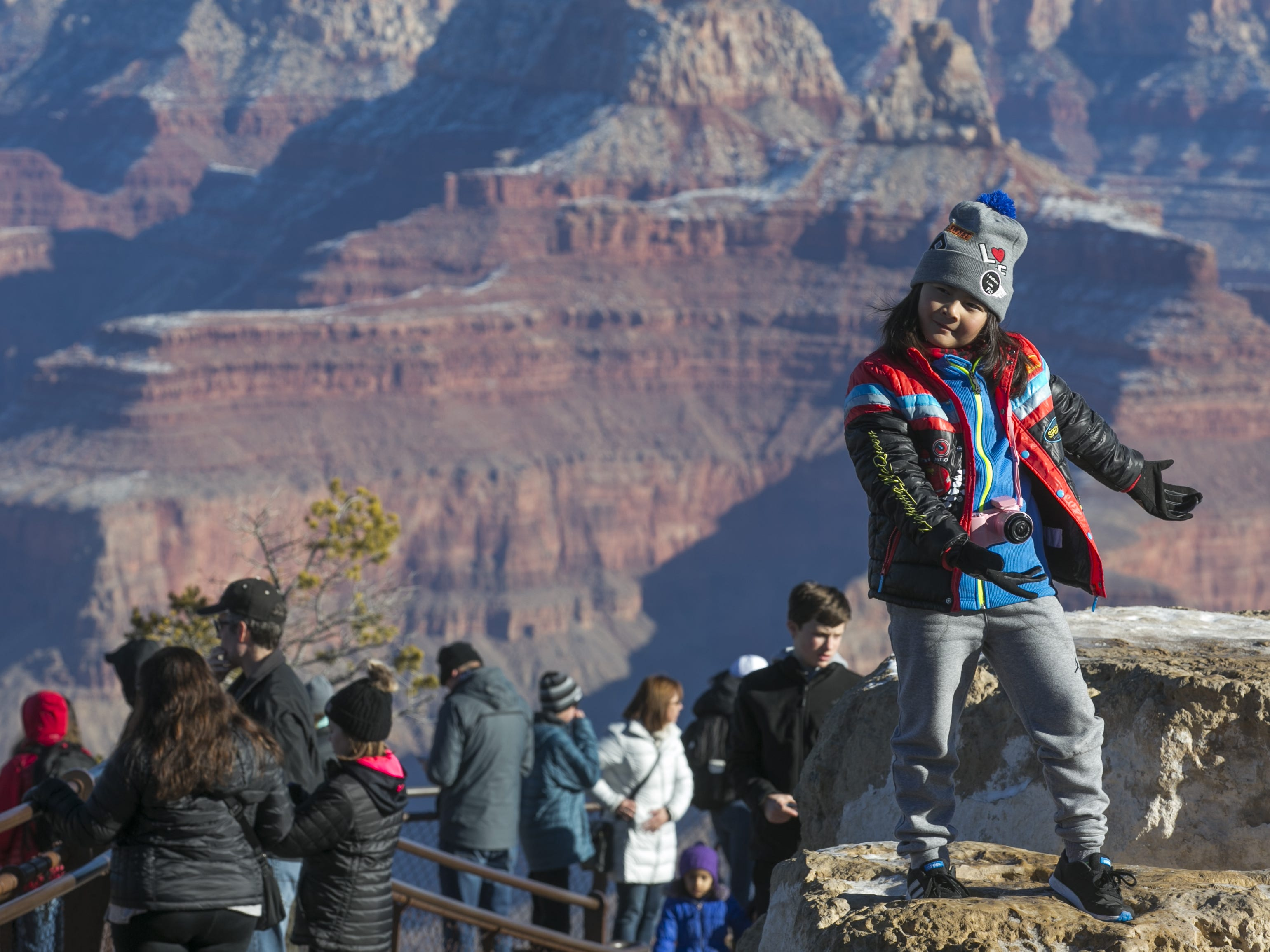 Dylan La, 9, poses for a photo at Grand Canyon National Park.