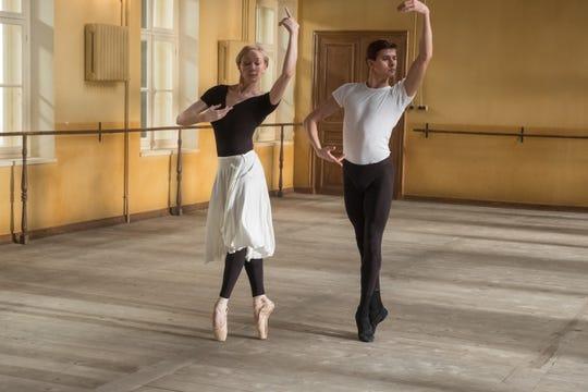 "Rudolf Nureyev (Oleg Ivenko) and Helena Romero (Mar Sodupe) rehearse in ""The White Crow."""