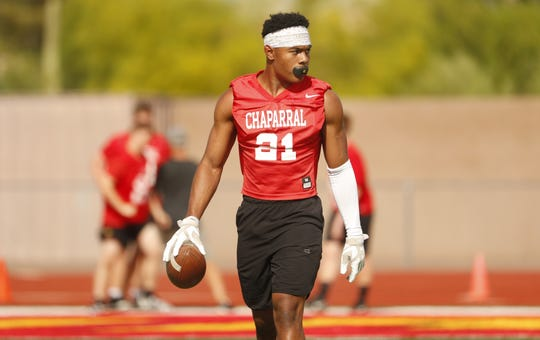 Chaparral's Jared Williams runs drills during practice at Chaparral High School in Scottsdale, Ariz. on April 29, 2019.