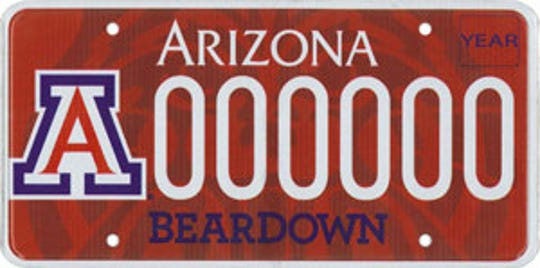 University of Arizona specialty license plate