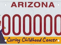 The Arizona childhood cancer research specialty plate benefits the childhood cancer and rare childhood disease research fund.