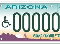 Arizona disability specialty plates are only available for vehicles registered to a disabled applicant.